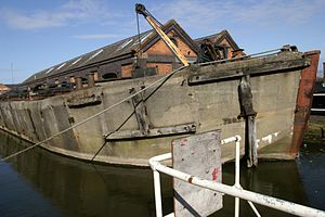 Type B ship - WW2 concrete barge at the National Waterways Museum, Ellesmere Port, Cheshire, UK