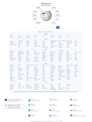 Wikipedia's homepage with links to many languages.