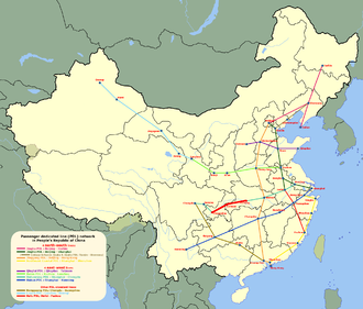 Yichang−Wanzhou Railway - The Yichang–Chongqing route, formed by the Yichang–Lichuan section of the Yiwan line and the Yuli (Lichuan–Chongqing) line, shown as a thick red line on the map of China's HSR construction plan