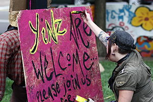 "Yinz - ""Yinz Are Welcome"" sign at Occupy Pittsburgh in 2011."
