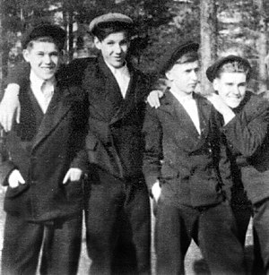 Boris Yeltsin - Boris Yeltsin (second from left) with childhood friends