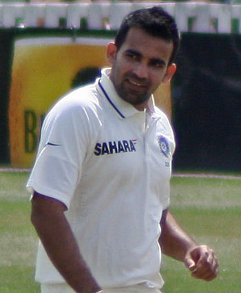 English: Zaheer Khan gives a Somerset batsman ...