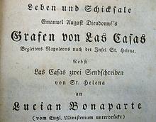 Titelblatt des Werks Leben und Schicksale Manuel August Dieudonné's Grafen von Las Casas von Karl Murhard aus der Reihe Zeitgenossen, Leipzig 1818 (Ausschnitt) (Quelle: Wikimedia)