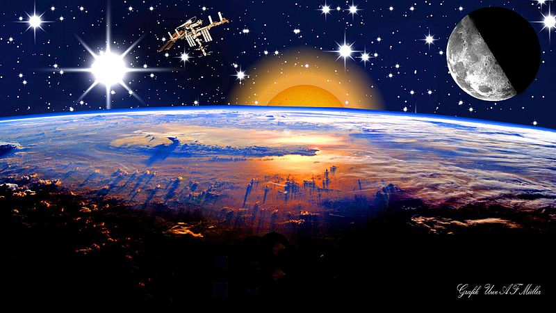 """File:""""New Space"""".jpg Description  Deutsch: Eine PC-Grafik,erstellt mit Photoshop English: Photoshopped illustration of the International Space Station above the Earth. Includes modified NASA photos ISS027-E-036656 (STS-134 with ISS) and ISS007-E-10807 (Earth seen from ISS). Date 24 June 2014, 15:00:49 Source Own work Author LexiMedia"""