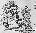 """OCTOBER"" ""ALASKA BOUNDARY SETTLEMENT"" ""CANADA"" ""U.S."" ""J. BULL"" (JOHN BULL) from- 1903 in Review (Bob Satterfield cartoon) (cropped).jpg"