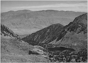 Owens Valley - Owens Valley, photographed from Sawmill Pass by Ansel Adams, circa 1936.