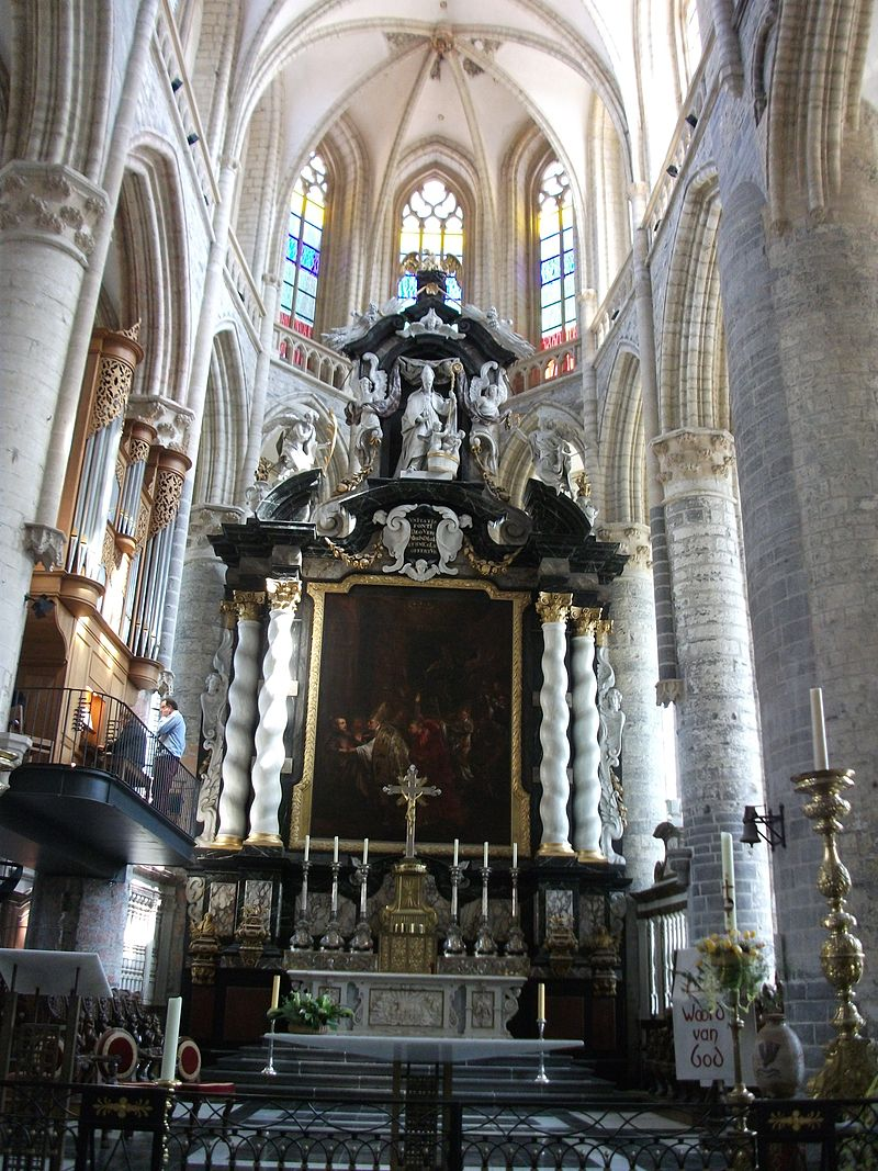 'Elaborate stone and marble naves inside Sint Baafs Kathedraal' by Tania Dey.JPG