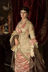 Portrait of a lady in satin dress.