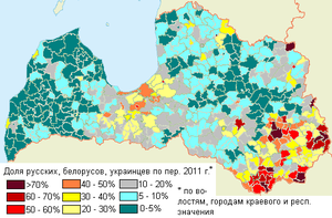 Demographics of Latvia - Distribution of Russians, Belarusians and Ukrainians in 2011