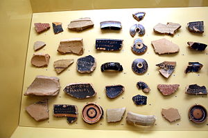 Ballot - Ancient Greek ostraca, 5th century BC, Ancient Agora Museum in Athens, housed in the Stoa of Attalus.