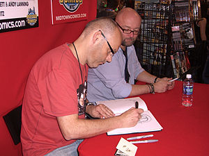 Dan Abnett - Abnett and frequent collaborator Andy Lanning at the Midtown Comics booth at the New York Comic Con, 10 October 2010.