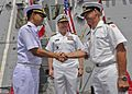 1200329-N-AZ513 Rear Adm. Tanin Likitawong, left, relieves Royal Danish Navy Commodore Aage Buur Jensen.jpg