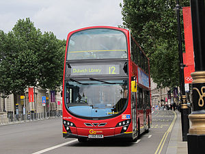 London Buses route 12 - London Central Wright Eclipse Gemini 2 bodied Volvo B9TL on Whitehall in July 2012