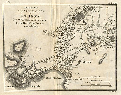 1785 Bocage Map of Athens and Environs, including Piraeus, in Ancient Greece - Geographicus - Athens-white-1793