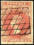 1856 2d orange-red South Australia grid Yv2 SG7.jpg