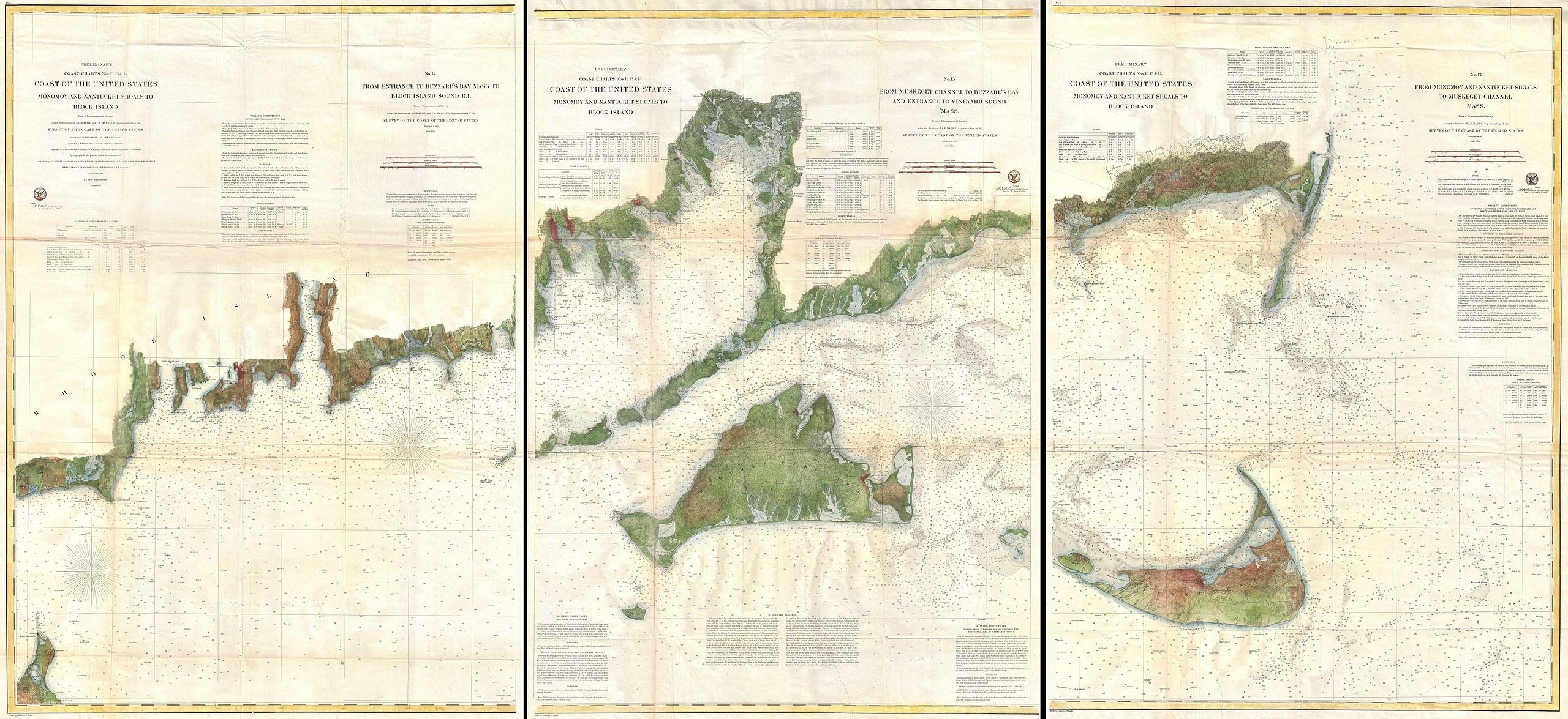 1920 Buzzard/'s Bay /& Martha/'s Vineyard Map