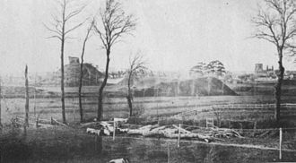 Clare Castle - Photograph of Clare Castle from the south in 1860, shortly before the inner bailey was destroyed by the construction of the Great Eastern Railway