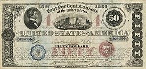 Consol (bond) - Image: 1877 4% $50 United States Consols