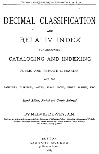 Dewey Decimal Classification - 1885 - Dewey Decimal Classification