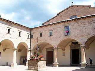 Basilica of SantUbaldo, Gubbio Roman Catholic church atop Mount Ingino, outside central Gubbio in Umbria, Italy
