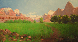 Frederick Samuel Dellenbaugh - Painting of Zion Canyon, by Dellenbaugh, 1903
