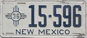 Vehicle registration plates of New Mexico - Image: 1936 New Mexico license plate