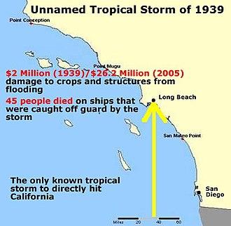 1939 California tropical storm - Image: 1939 California storm