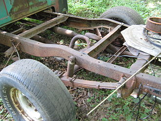 Vehicle frame - Pickup truck frame. Notice hat-shaped crossmember in the background, c-shape rails and cross member in center, and a slight arc over the axle.