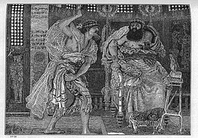 19 Ehud kills Eglon - Judges 3 21 - Ford Madox Brown.jpg