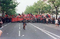 Manifestación de laCNT francesadel Primero de Mayo enParís.