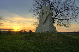 Gettysburg National Military Park - 1st Massachusetts Monument at Sunset