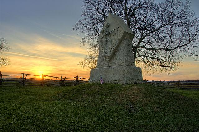 1st Massachusetts Monument at Sunset