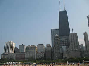 Drake Hotel (Chicago) - Drake Hotel (lower right) and the East Lake Shore Drive District from Oak Street Beach