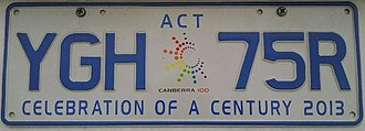 Vehicle registration plates of the Australian Capital Territory - Canberra – Celebration of a Century