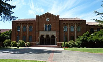 Fresno City College - The campus library, with its Romanesque design, was completed in 1933 at a cost of $260,000.