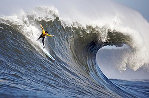 Big wave surfing - Surfer at Mavericks, one of the world's premier big wave surfing locations. (Surfer: Andrew Davis)