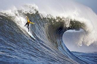 Big wave surfing - Surfer at Mavericks, one of the world's premier big wave surfing locations. (Surfer: Andrew Davis)