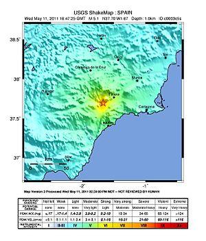2011 Lorca earthquake - Earthquake intensity map
