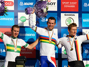 Mark Cavendish - Matthew Goss of Australia, Cavendish and Germany's André Greipel on the podium after the road race at the 2011 road world championships.