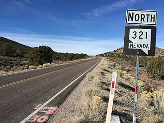 Nevada State Route 321 - View from the south end of SR 321 looking northbound