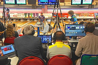 "Professional Bowlers Association -  A PBA ""Xtra Frame"" tournament broadcast setup"