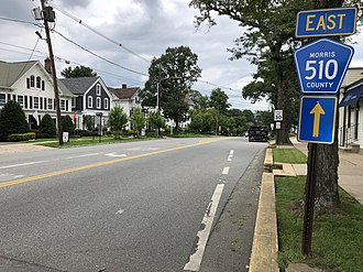 Mendham Borough, New Jersey - County Route 510 eastbound in Mendham