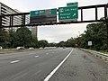 2018-10-10 08 27 37 View west along Interstate 66 (Custis Memorial Parkway) at Exit 73 (U.S. Route 29 - Lee Highway, Rosslyn, Key Bridge) in Arlington County, Virginia.jpg