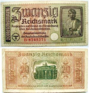 Deutsch: 20 Reichsmark 1938-1945, Germany