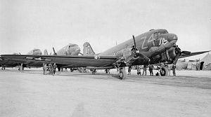 RAF Merryfield - Douglas C-47A-25-DK Skytrain Serial 42-93708 of the 301st TCS