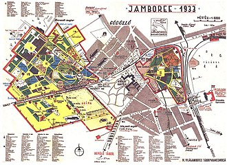 4th World Scout Jamboree - The official Hungarian language map and guide to the 4th World Jamboree.