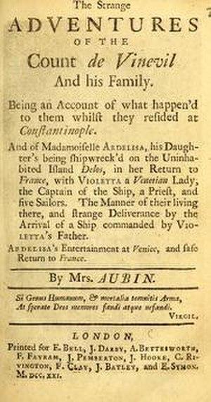 Penelope Aubin - Title page for The Strange Adventures of the Count de Vinevil