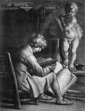 Ludwig von Siegen - Early mezzotint by Vaillerant, Siegen's assistant or tutor. Young man reading, with statue of Cupid. 27,5 x 21,3 cm