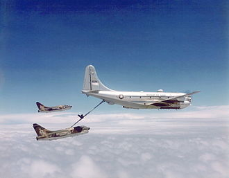Boeing KC-97 Stratofreighter - Two USAF A-7 Corsair IIs refueling from a KC-97.