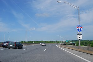 Interstate 787 - Collar City Bridge traveling west (south on I-787)